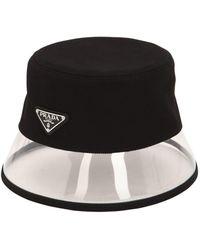 45c2fb7abd5e8e Prada Cotton & Plexi Bucket Hat W/ Logo Tag in White - Lyst