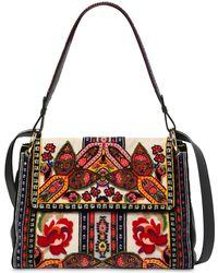 Etro - Linen Shoulder Bag W/ Patches - Lyst