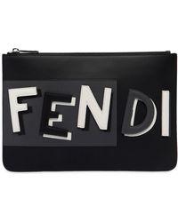 "Fendi - ""Pochette En Cuir Avec Logo 3d """"vocabulary"""""" - Lyst"