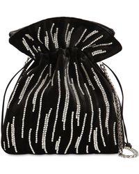 Les Petits Joueurs Trilly Zebra Crystal Velvet Clutch - Black