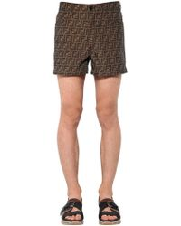 Fendi - Allover Logo Printed Cotton Blend Shorts - Lyst