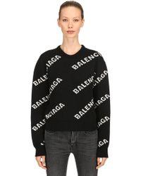Balenciaga - Logo Wool Jacquard Cropped Jumper - Lyst