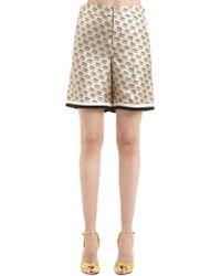 Gucci - Logo Printed Silk Twill Shorts - Lyst