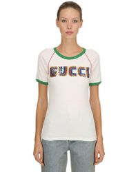 Gucci - Sequined Cotton Ribbed Jersey T-shirt - Lyst