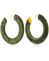 Cult Gaia - Large Flat Malachite Hoop Earrings - Lyst