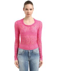 Isabel Marant - Stretch Cotton Blend Lace Knit Jumper - Lyst