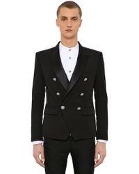 fddc77eb Balmain - Double Breasted Wool Gabardine Jacket - Lyst