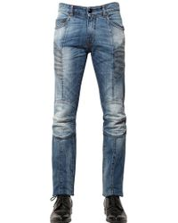 Balmain | 15.5cm Washed Stretch Denim Biker Jeans | Lyst