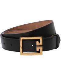 Givenchy - Cinturón De Piel Con Logo 30mm - Lyst
