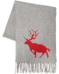 DSquared² - Deer Embroidered Wool & Cashmere Scarf - Lyst