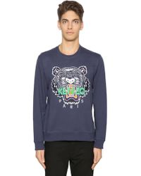 KENZO - Tiger Embroidered Cotton Sweatshirt - Lyst