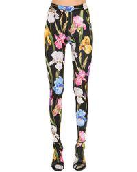 Dolce & Gabbana - Floral Printed Jersey Sock Leggings - Lyst