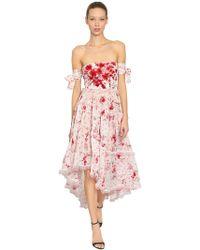 Ermanno Scervino - Floral Printed Silk Georgette Dress - Lyst