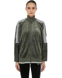 adidas Originals - Oversized Zip-up Velvet Track Jacket - Lyst