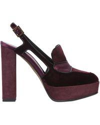 Etro - 130mm Velvet & Suede Slingback Court Shoes - Lyst