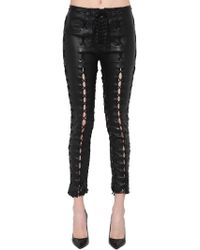 Unravel - Skinny Lace-up Stretch Leather Trousers - Lyst