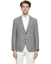 Lardini - Linen Blend Prince Of Wales Jacket - Lyst