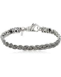 Emanuele Bicocchi - Tiny Fishtail Braid Silver Bracelet - Lyst