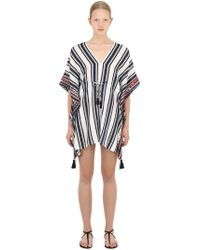 690fc98cc55e3 Tory Burch - Embroidered Linen Mini Caftan Dress - Lyst