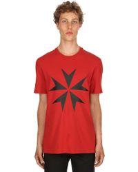 Neil Barrett - T-shirt Aus Baumwolljersey Mit Sternendruck - Lyst