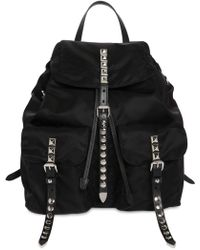 Prada - Nylon Backpack W/ Studded Straps - Lyst