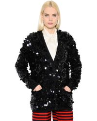 Sonia Rykiel - Sequined Wool Knit Cardigan - Lyst