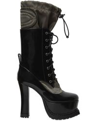 Moschino - 120mm Brushed Leather & Nylon Boots - Lyst