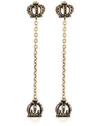Alcozer & J - Crown Pearl Long Earrings - Lyst