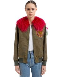 Mr & Mrs Italy - Waxed Cotton Blend Bomber Jacket W/ Fur - Lyst