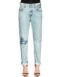 DIESEL - Stretch Cotton Denim Jeans W/ Logo Tape - Lyst