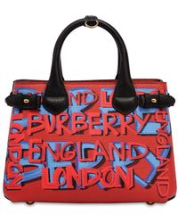 Burberry - Small Banner Graffiti Print Leather Bag - Lyst