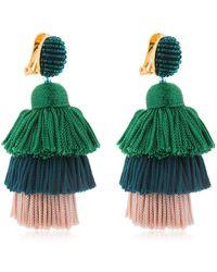 Oscar de la Renta - Silk Tiered Tassel Clip-on Earrings - Lyst