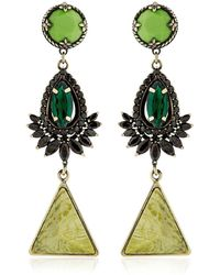 Iosselliani - Anubian Brass, Agate & Crystal Earrings - Lyst