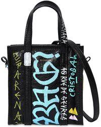 Balenciaga - Xxs Bazar Graffiti Leather Tote Bag - Lyst