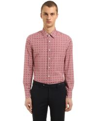 Prada - All Designer Products - Slim Fit Printed Cotton Poplin Shirt - Lyst