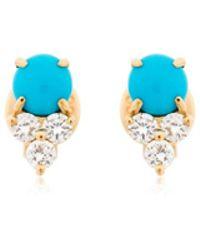 EF Collection - Diamond Trio Stone Stud Earrings - Lyst