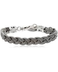Emanuele Bicocchi - Flat Braided Silver Chain Bracelet - Lyst