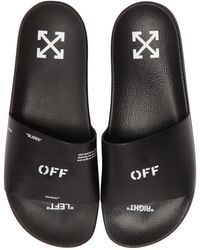 Off-White c/o Virgil Abloh - Off Printed Leather Slide Sandals - Lyst