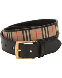 Burberry - 35mm Leather & Checked Cotton Belt - Lyst