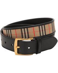 Burberry - Cintura In Pelle E Cotone Check 35mm - Lyst