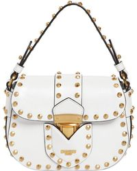 Moschino - Lock Studded Shiny Leather Shoulder Bag - Lyst