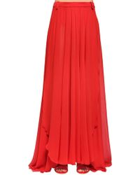 Elie Saab - Silk Crepe Georgette Long Skirt - Lyst