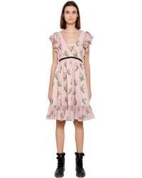 Blugirl Blumarine - Floral Printed Chiffon Dress - Lyst