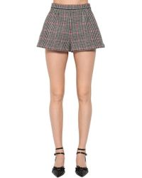 RED Valentino - High Waist Wool Houndstooth Shorts - Lyst