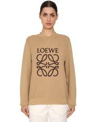 Loewe - Logo Printed Cotton Sweatshirt - Lyst