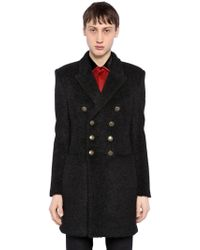 3fb8f5bb8d4 Saint Laurent Double Breasted Wool Cloth Peacoat in Black for Men - Lyst