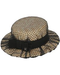 Kreisi Couture - Sophie Straw Boater Hat W/tulle Overlay - Lyst