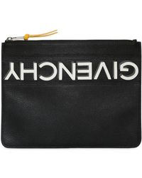 Givenchy - Reverse Logo Grained Leather Pouch - Lyst