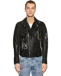 DIESEL - Graffiti Painted Leather Biker Jacket - Lyst