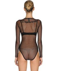 DSquared² - Back Logo Stretch Sheer Tulle Bodysuit - Lyst